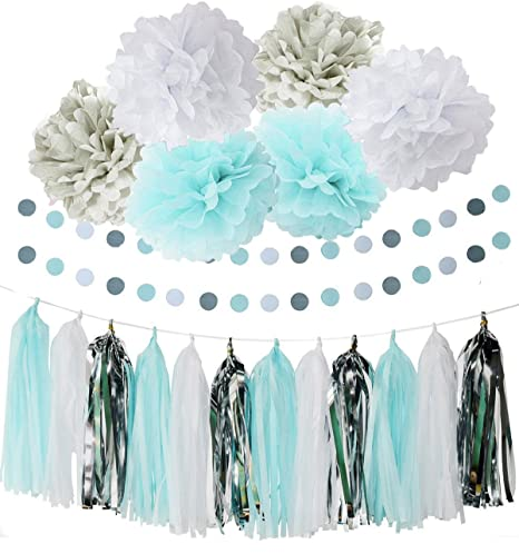 baby shower decorations for boy furuix white blue grey tissue paper pom pom flower with paper