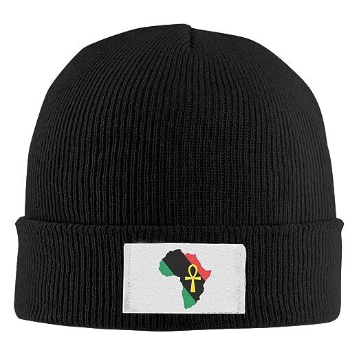 Unisex Ankh African Colored Africa Running Skull Hat Beanie Hat Knit Cap  Black 432156dabd6
