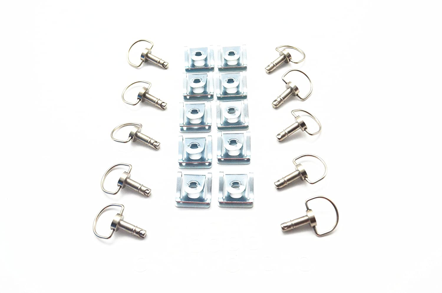 10 Pack MOTO4U Dzus Style Quick Release D-Ring Race Fasteners 19mm Sliver