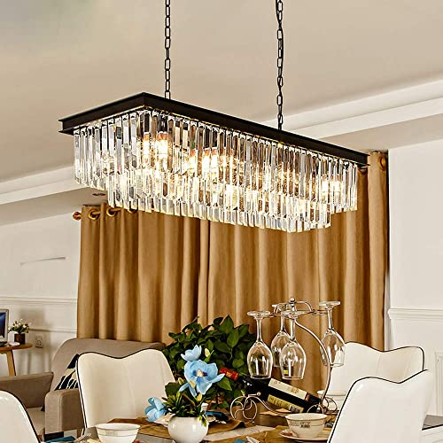Rectangular Modern K9 Crystal Chandeliers Lighting Pendant Ceiling Lights Rectangle Chandelier Lamp Fixture 8-Light