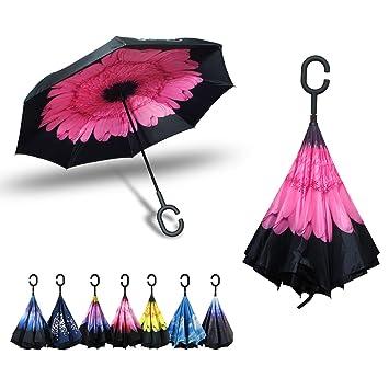 Amazon.com: FEBBIS Paraguas Inverso Auto Abierto con Doble ...