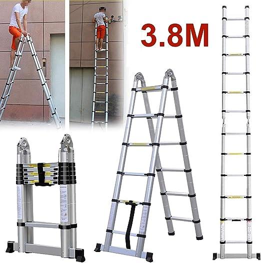 1.9M + 1.9M plegable 3.8M A Escalera de bastidor Aleación de aluminio Escalera de una sección recta Telescópico portátil Extensión: Amazon.es: Hogar