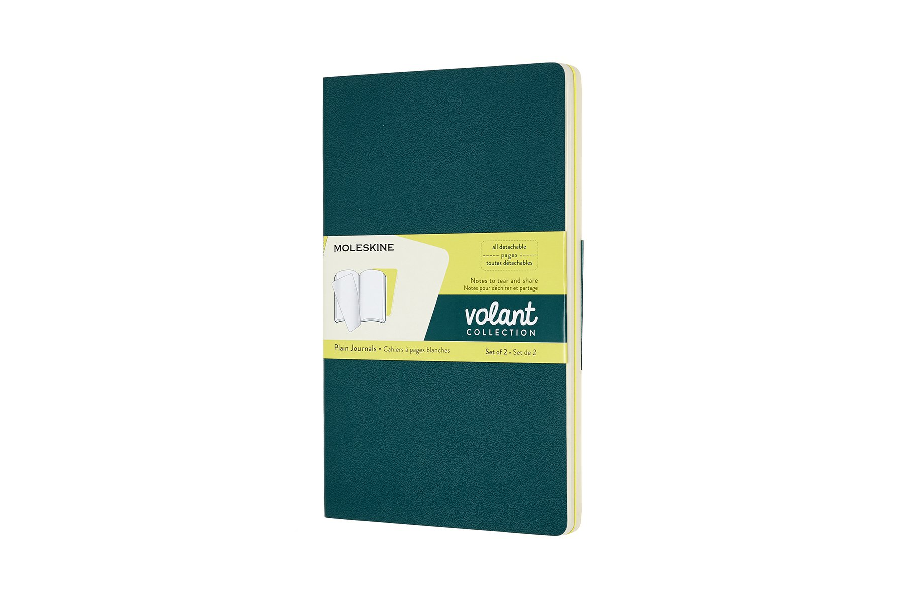 Moleskine Volant Soft Cover Journal, Set of 2, Plain, Large.