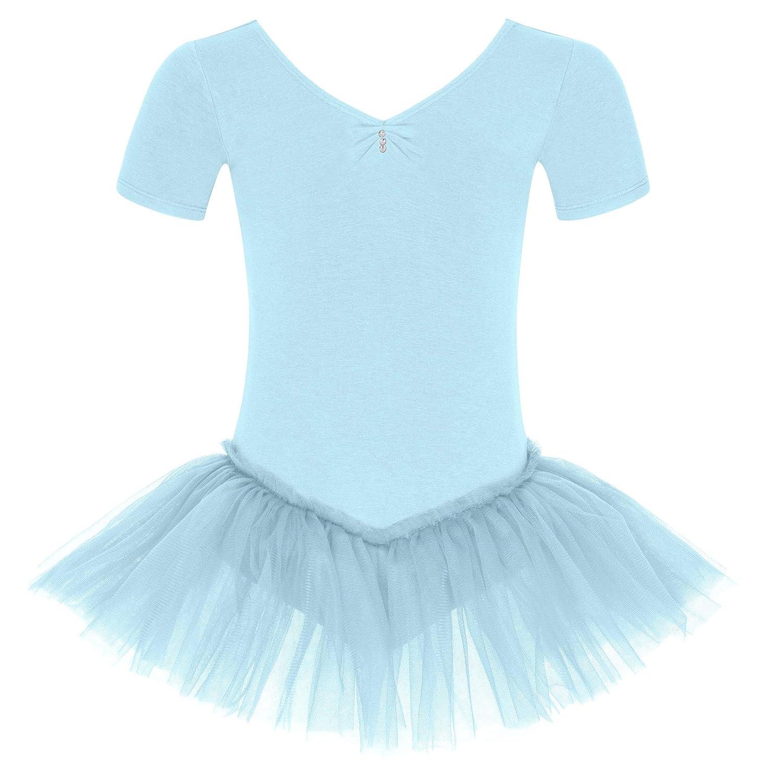 tanzmuster Kinder Ballett Tutu Nele - süßer Kurzarm Ballettbody mit Tuturock und Glitzersteinen in rosa und weiß.