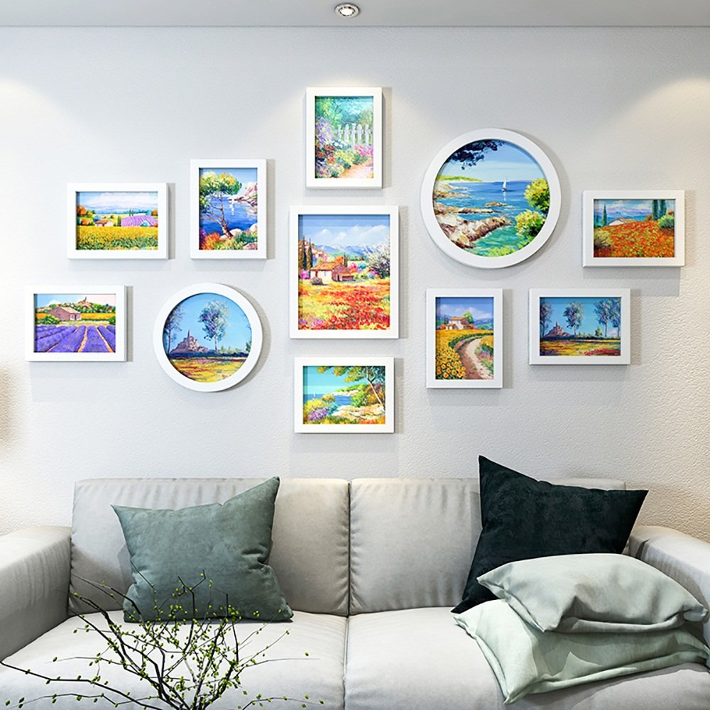Collage picture frame wall photo frames Photo Wall, European-style Living Room Bedroom Minimalist Modern Photo Frame Wall Creative Photo Wall (Color : B)