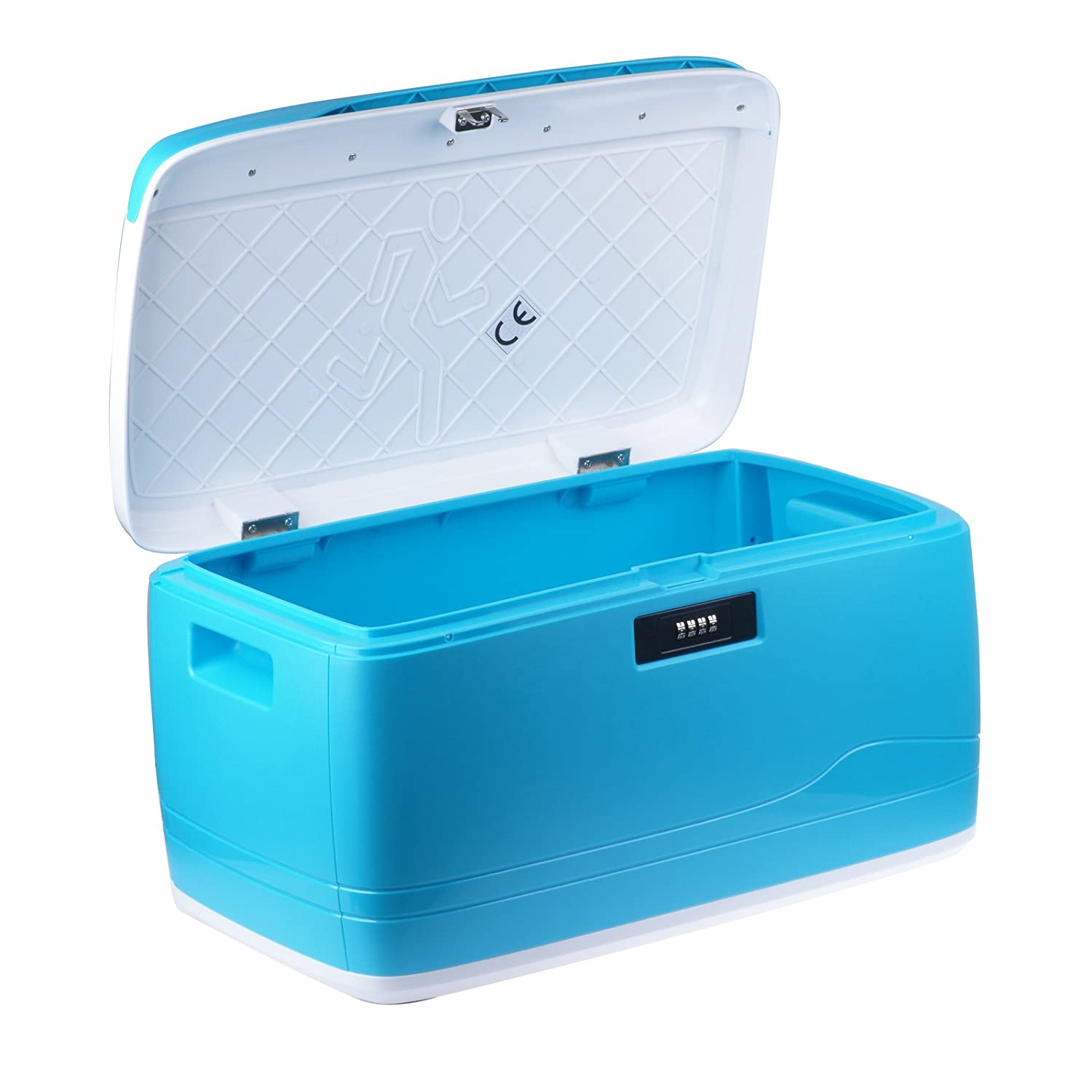 Vinteky ABS+304 stainless steel Storage Box can be widely used in home, upscale clubs, school, hospital, institute, car and fashionable DIY home life Museum etc. - 32L - 46x28x24.5cm (Blue)