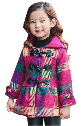 7efe45a72ddeb Eiza® 女の子 ダッフルコート チェック柄 防寒 冬物 アウター キッズ 子供 コート e172 (120cm