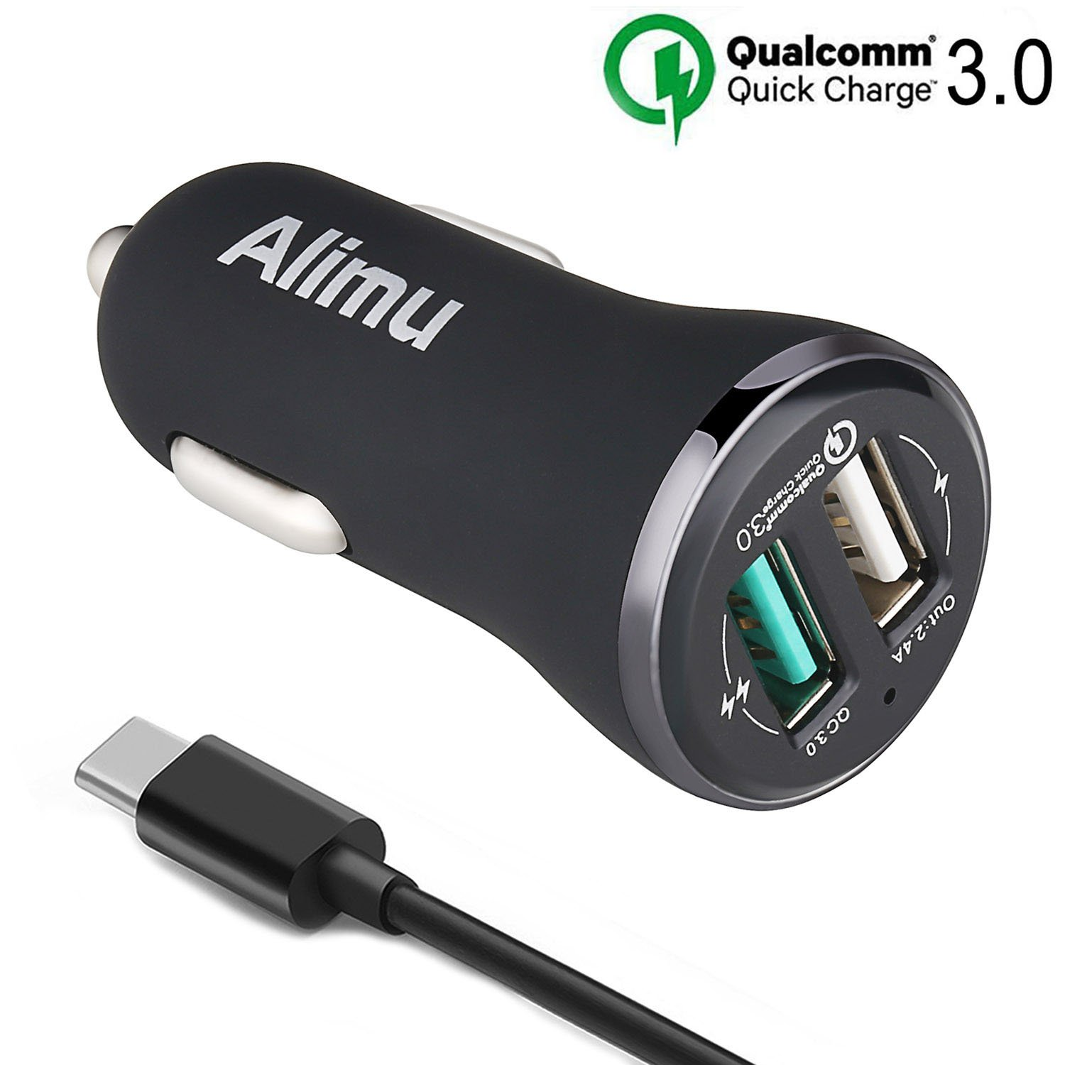 Quick Charge 3.0 USB Type C Car Charger, Alimu Dual USB Rapid Fast Car Charger 30W and USB C Cable Works with LG G5,G6,V20,V30,HTC 10 U11,Samsung Galaxy S8 S9 Plus,Note 8,iPad,iPhone and More