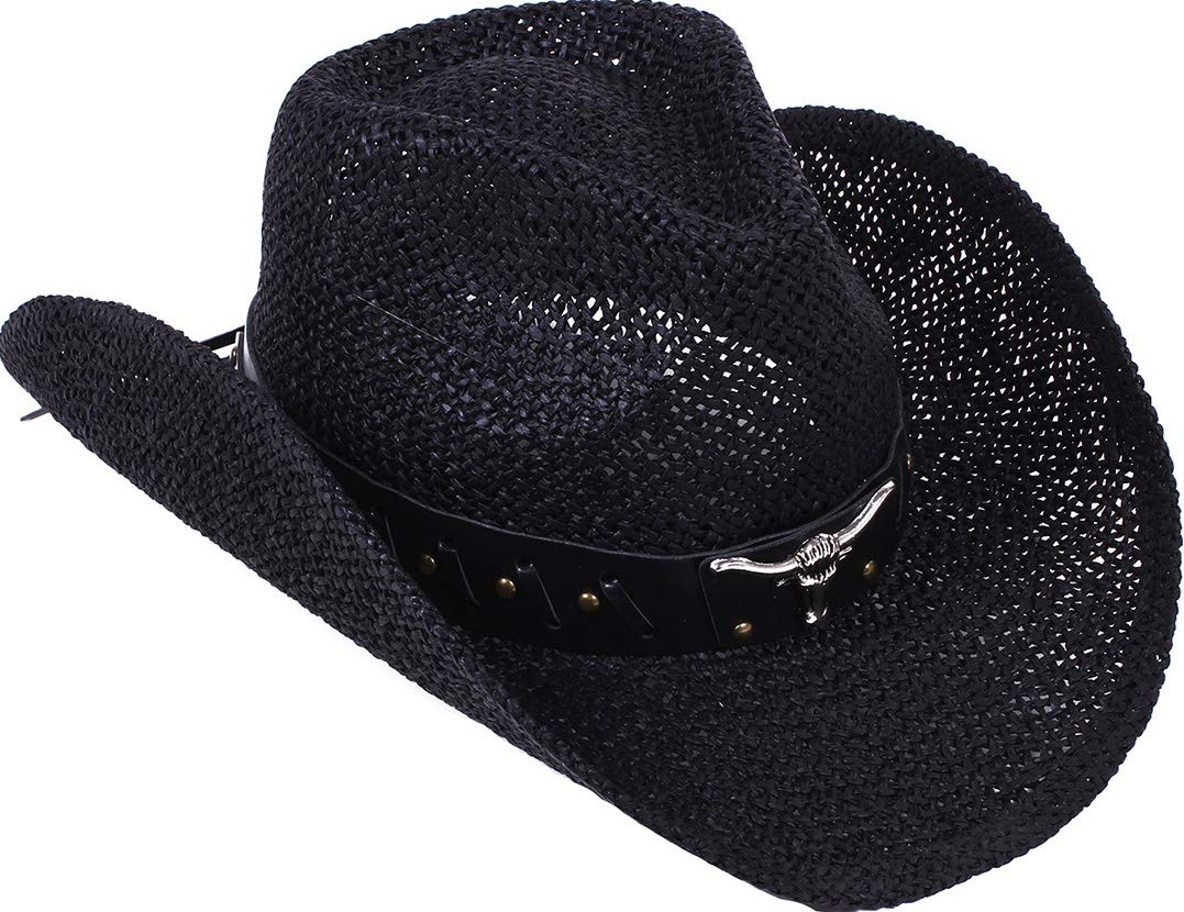 TAUT Unisex Woven Straw Ranch Cowboy Hat with Shapeable Brim Bull_Black