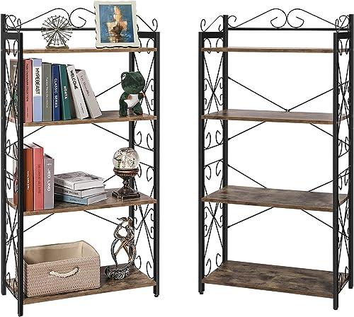 X-cosrack 4 Tier Bookcase Book Shelf wtih 2 Middle Adjustable Shelves
