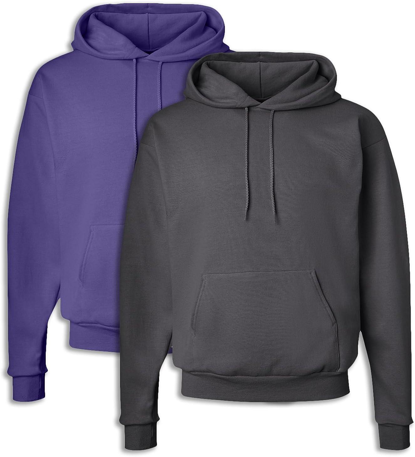 Hanes P170 Mens EcoSmart Hooded Sweatshirt Medium 1 Purple 1 Smoke Grey