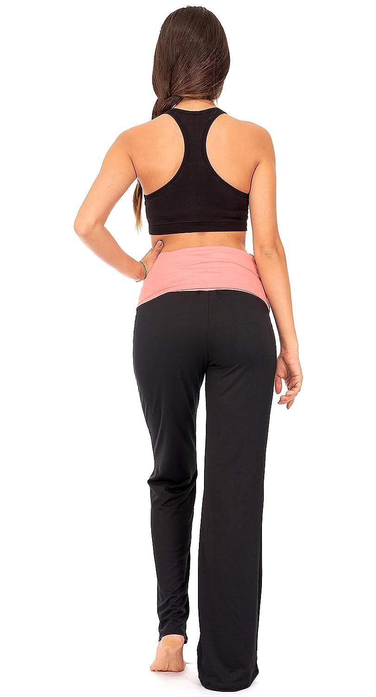 DEAR SPARKLE Fold Over Yoga Lounge Stretch Pants Women Black Contrasting High Waist Loose Pregnancy Pant Plus P8