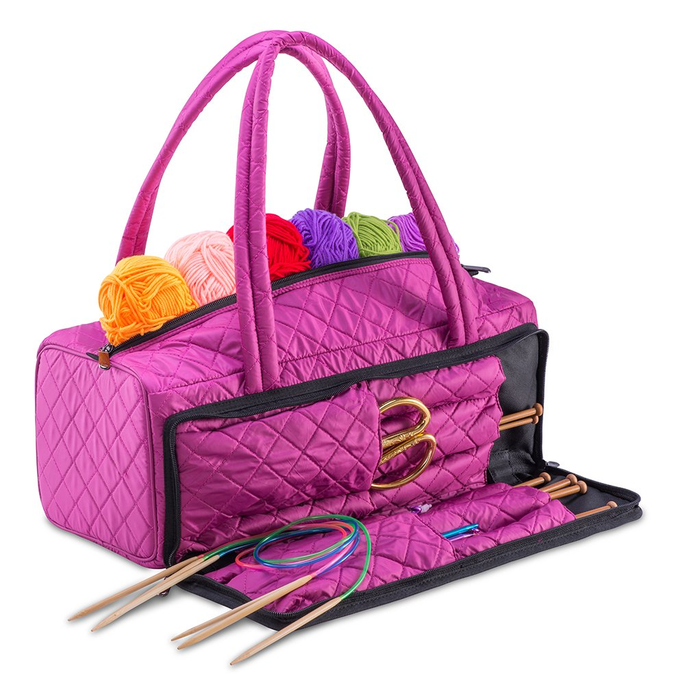 DeNOA Lightweight Quilted Craft Tote - Sewing and Knitting Yarn Storage Bag - Needle and Accessory Pocket - Orchid Purple