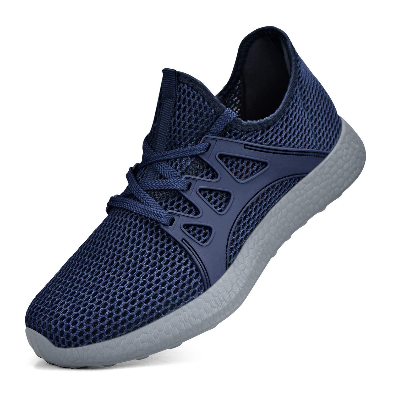 Simasoo Boy's Shoes Breathable Mesh Lightweight Gym Athletics Sports Running Shoes Blue/Grey Size 4.5