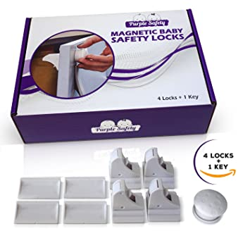 Magnetic Baby Safety Locks for Cabinets - Drawers - Baby Proof -  Easy Install