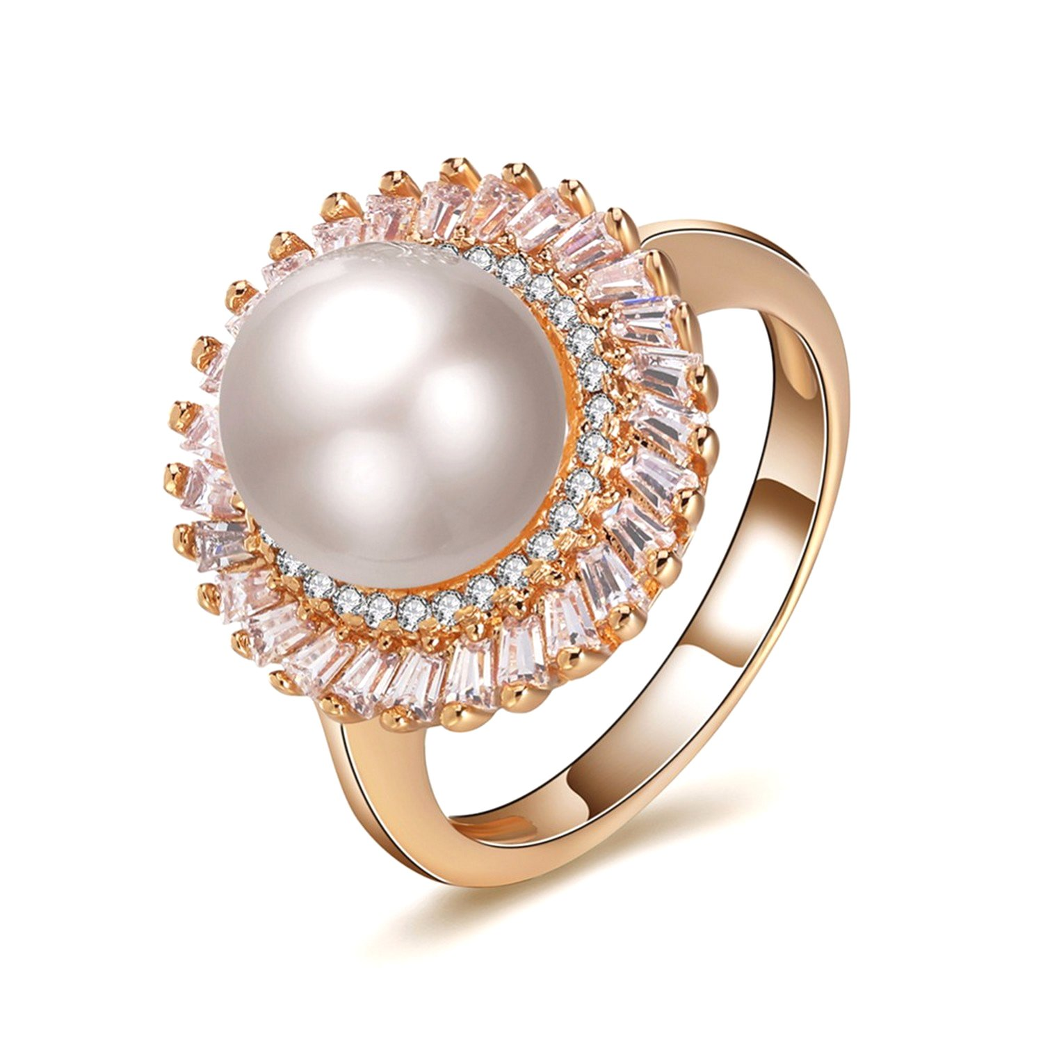 Dudee Gold-color Pearl Ring cubic zirconia engagement rings women fashion rings