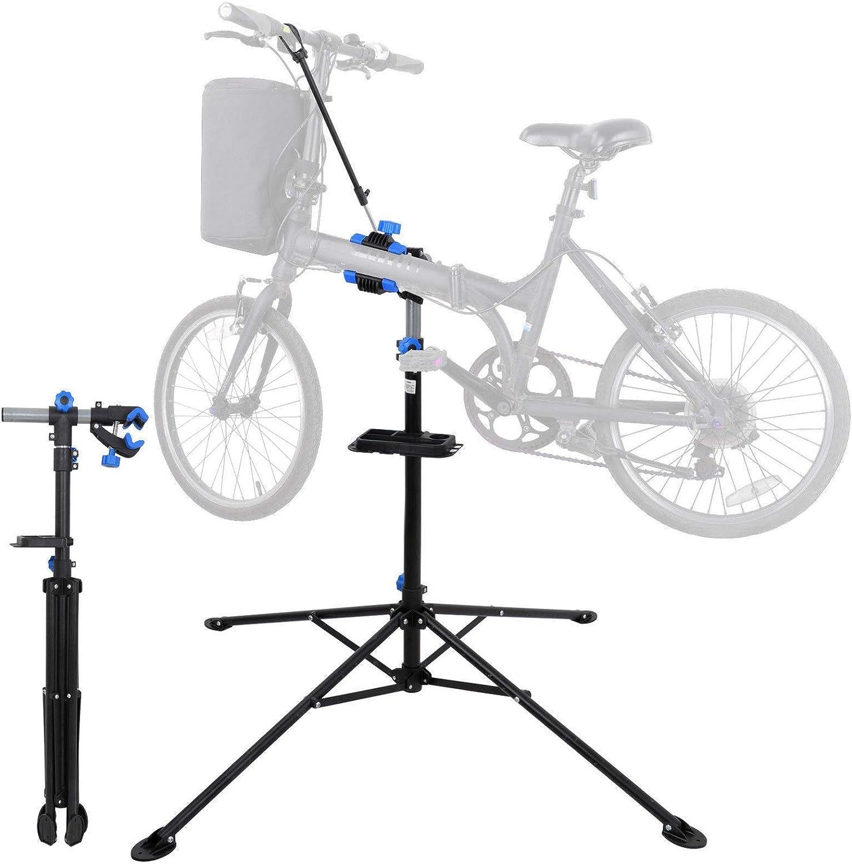 Soporte de reparación de Bicicleta, Soporte de Mantenimiento Ajustable para Bicicleta, Soporte de Trabajo mecánico de reparación con Abrazadera Suave y Bandeja de Herramientas: Amazon.es: Deportes y aire libre