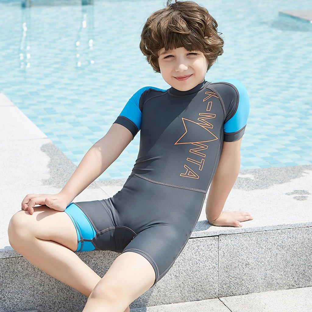 06421d1665 Amazon.com: Gogokids Boys Girls One Piece Swimsuit - Kids Short Sleeves  Swimwear UPF 50+ UV Wetsuits: Clothing