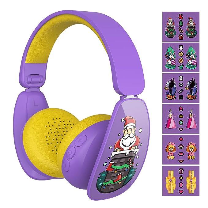 aa257eb3d5b Mindkoo Wireless Bluetooth Kids Headphones - Cute Child Headphones with 6  DIY Cartoon Stickers, 3