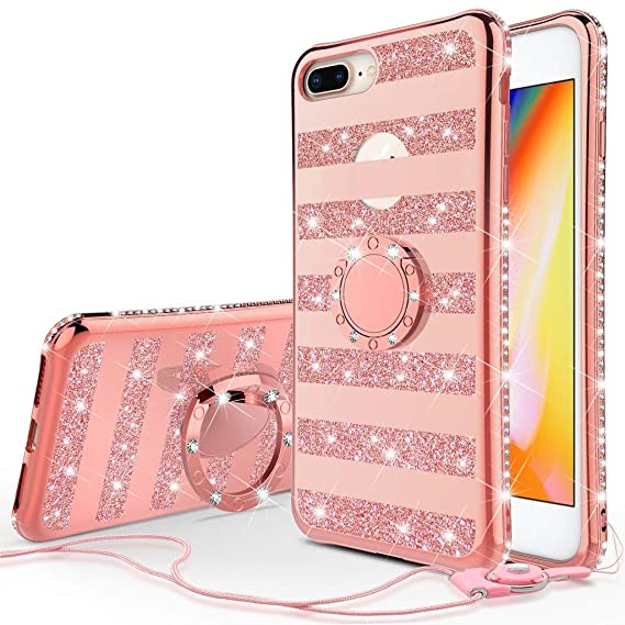 Apple iPhone 8 Plus Case,iPhone 7 Plus Case,[GW USA] Glitter Cute Phone  Case Girls Kickstand,Bling Diamond Rhinestone Bumper Ring Stand Thin Soft