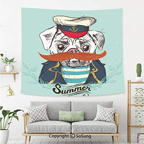 Pug Wall Tapestry,Captain Dog with Hat Mustache Jacket and Shirt Cute Animal Funny Image Decorative,Bedroom Living Room Dorm Wall Hanging,92X70 Inches,Navy Blue Pale Blue Orange