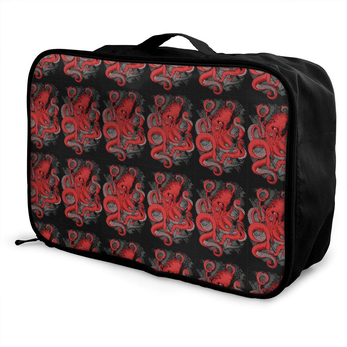 Travel Lightweight Waterproof Foldable Storage Carry Luggage Duffle Tote Bag JTRVW Luggage Bags for Travel Red Octopus Nautical Anchor Artwork Black