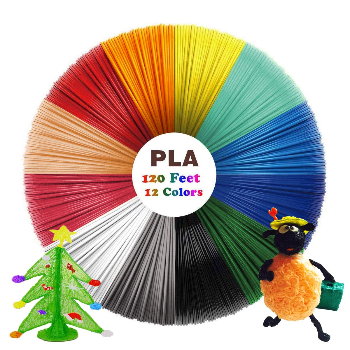 Phattopa 3D Drawing Printing Pen Filaments 3D Pen Filament Refills PLA 1.75mm PLA Filament Refills 3D Printer Filament 12 Colors, Each Color 10ft