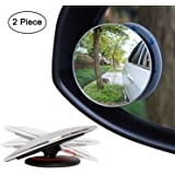 IPEC THERAPY Blind Spot Mirror,HD Glass Wide Angle Slim Round Frameless Convex Rear View Mirror 360°Rotate 30°Sway Adjustable Great for Car SUV Truck Van(2 Pack)