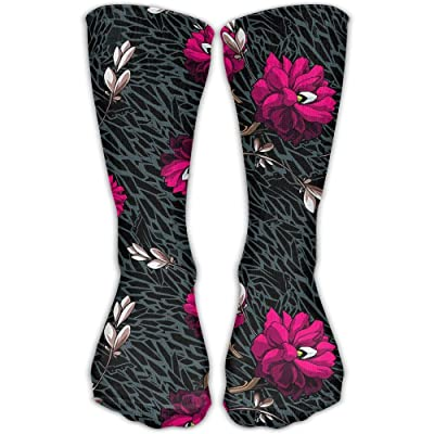 Kjaoi Crew Socks Flowers Floral Pattern Sock Protect The Wrist For Cycling Moisture Control Elastic Socks 11.8inch