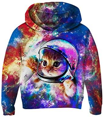 1bb4b20f3 UNICOMIDEA Kids Hoodie Comfy Pullover Softy Cardigan Aerospace Cat Sweatshirt  Printed Novelty Pullover with Pocket 3