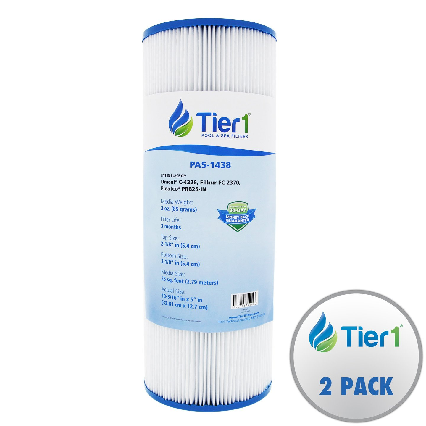 Tier1 Dynamic 17-2327, Pleatco PRB25-IN, 817-2500, R173429, Unicel C-4326, Filbur FC-2375 Comparable Replacement Spa Filter Cartridge (2-Pack)