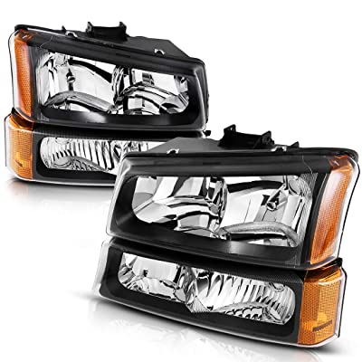 AUTOSAVER88 Headlight Assembly Compatible with 2003-2006 Chevy Silverado Avalanche 1500/2500/3500 Headlights Replacement Black Housing Clear Lens(Not Fits Body Cladding Models): Automotive
