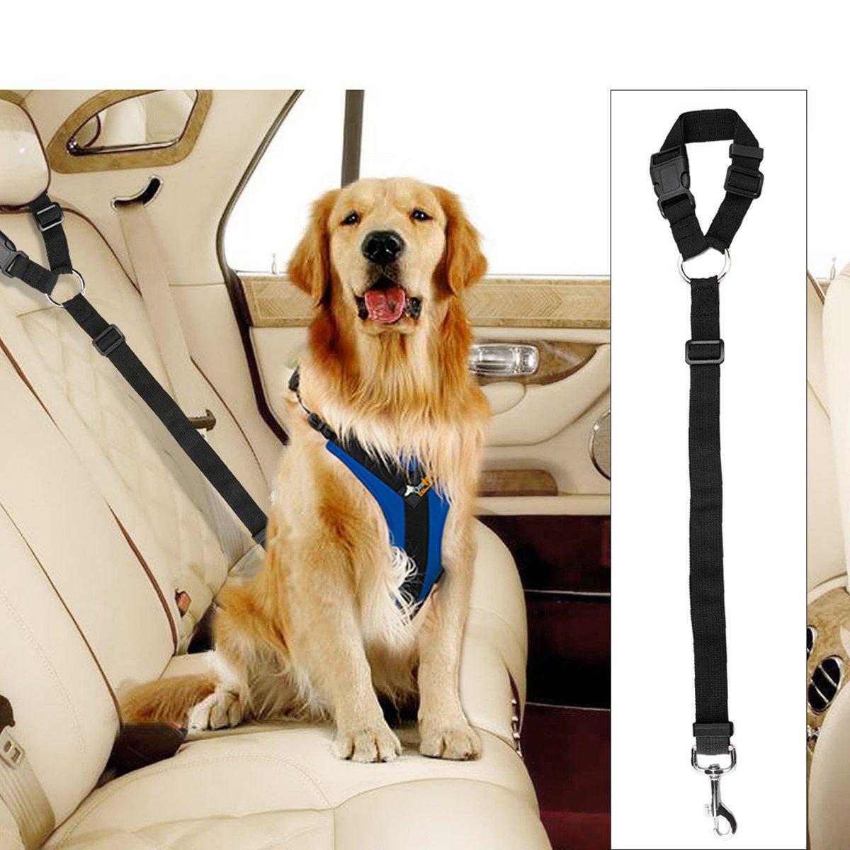 Docamor Regolabile Pet Dog Cat Car Seat Cinturino Cintura di sicurezza Leads Veicolo Cintura di sicurezza Imbracatura Tessuto di nylon Cintura elastica resistente per auto Lava Red