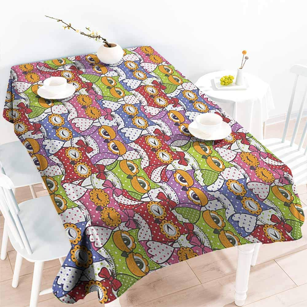 familytaste Owl,Rectangle Oblong Table Ornate Owl Crowd with Different Sights and Polka Dots Like Matryoshka Dolls Fun Retro Theme 70''x 102'' Tablecloths by familytaste