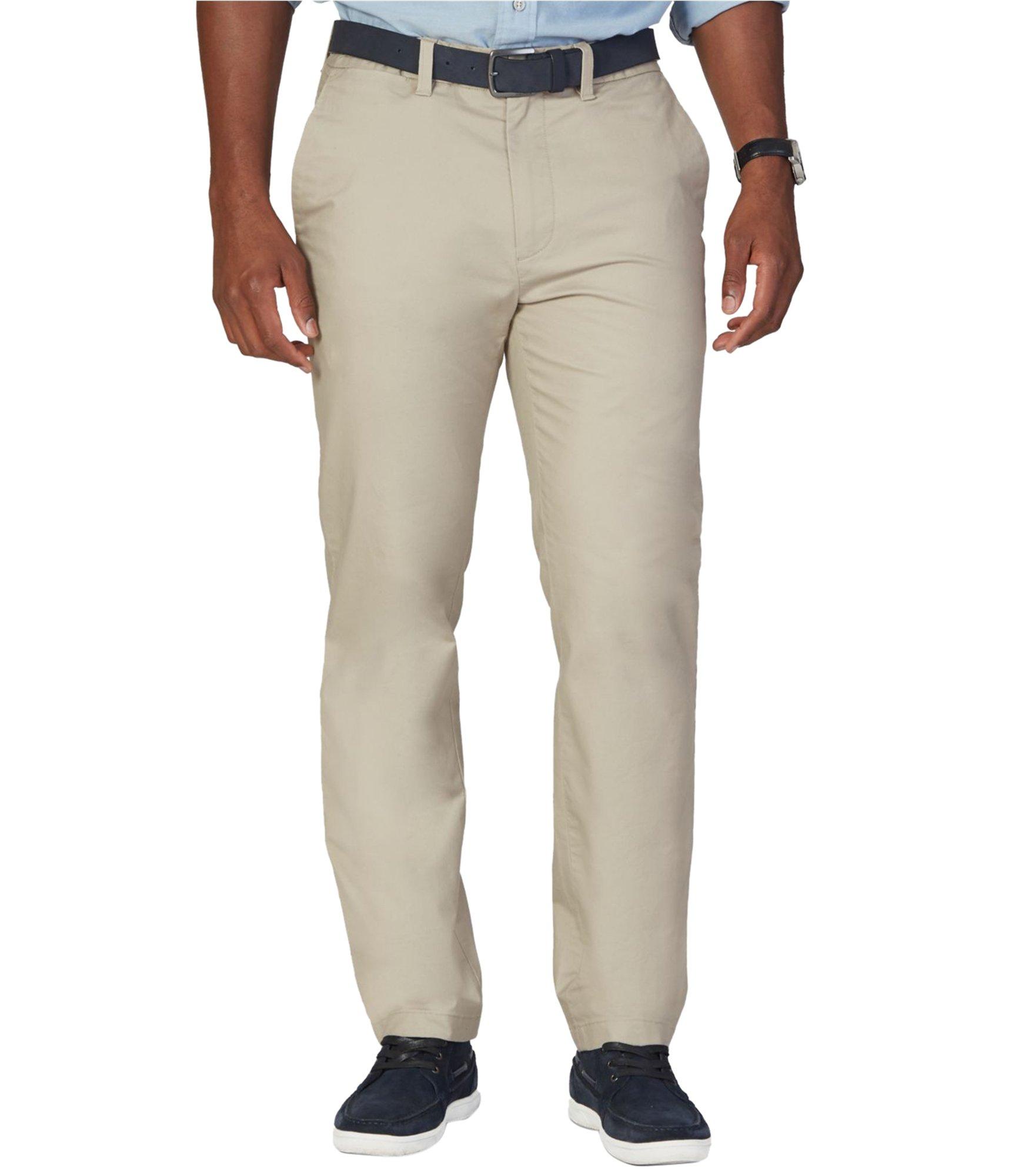 Nautica Men's Flat Front Slim Fit Twill Chino Marina Stretch Pant, Beach Sand, 32W x 30L