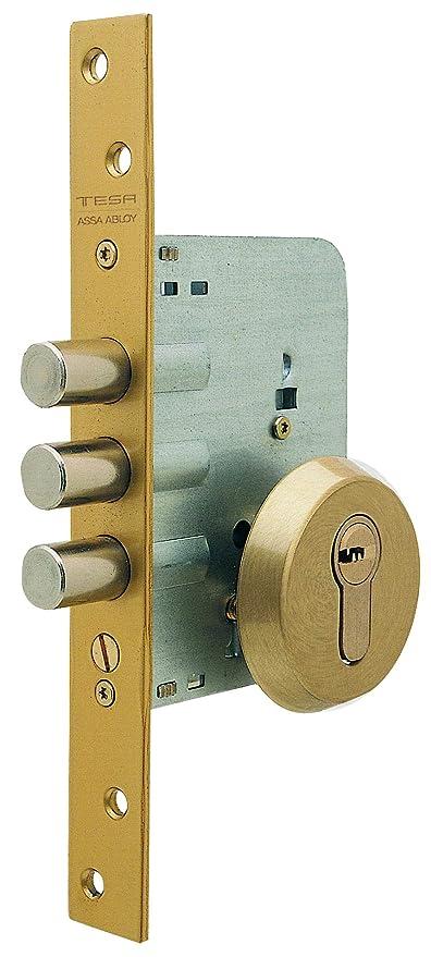 Tesa Assa Abloy R101B566E Cerradura Monopunto de Seguridad para Puertas de Madera Cromado Cil. 30x30mm