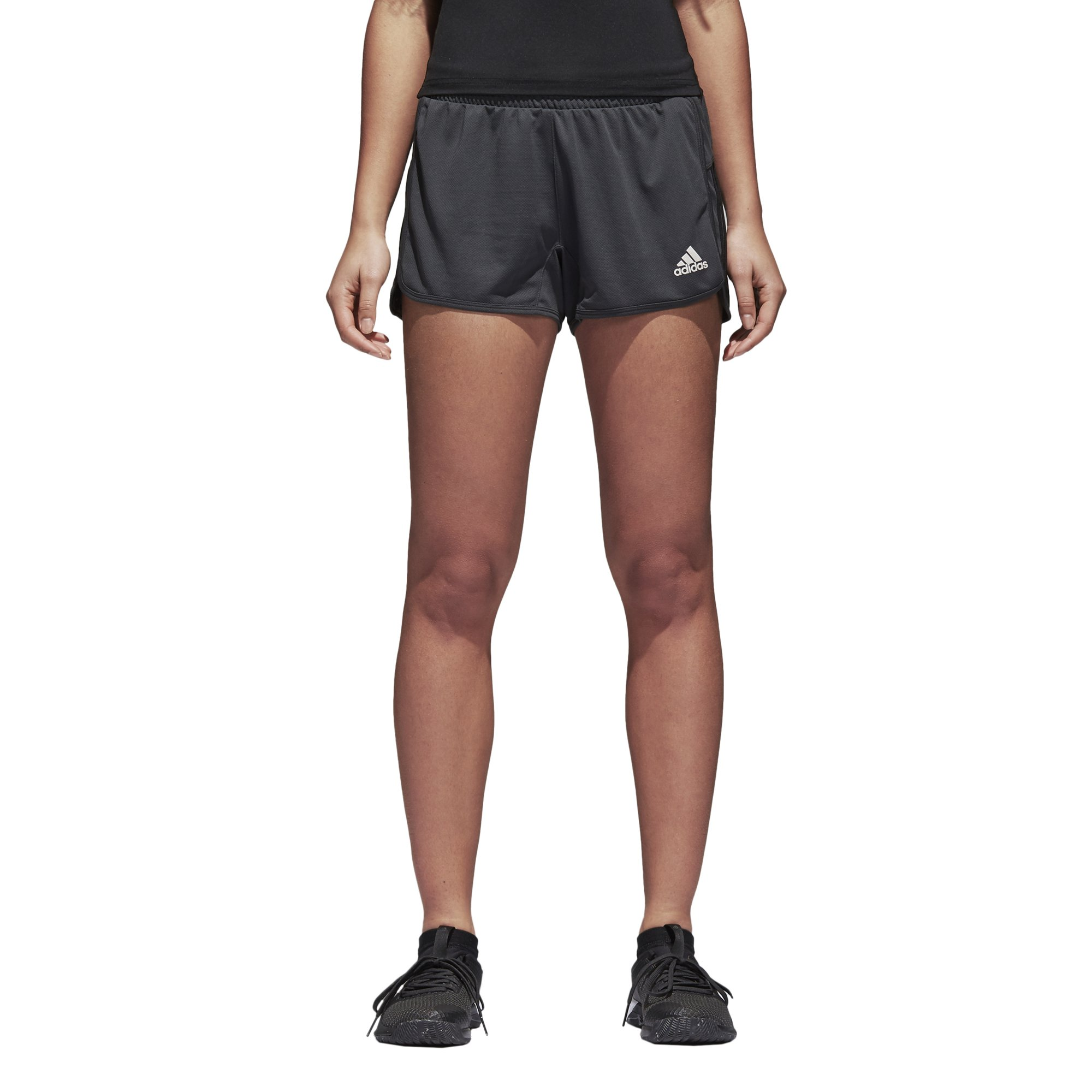 adidas Women's Designed 2 Move Knit Shorts, Carbon/Black, Large by adidas