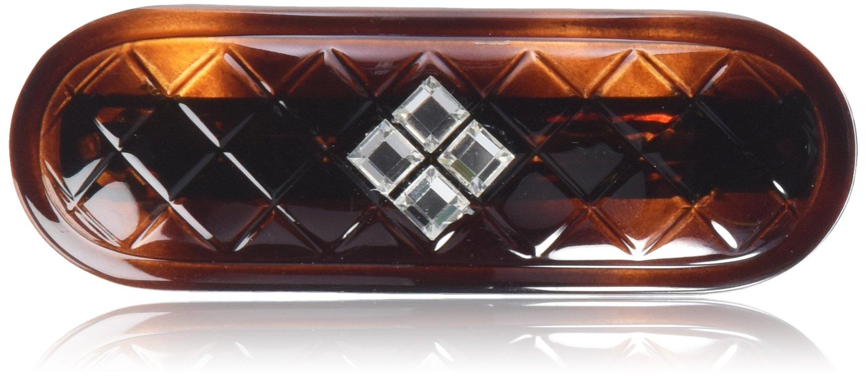 Caravan Diamond Design Automatic Barrette Decorated with Crystal Swarovski Rhine Stone, 0.5 Ounce