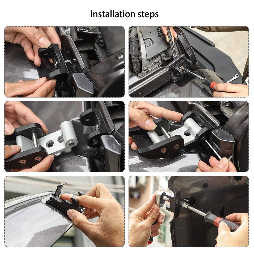 NO7RUBAN Stainless Steel Hood Latches Pins Hood Lock Catch Kit for 2007-2017 Jeep Wrangler JK JKU Silver