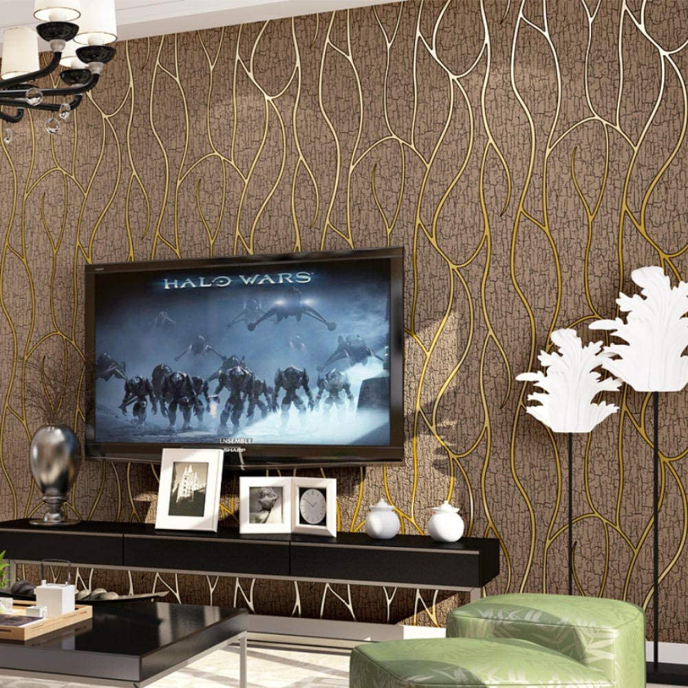 Brun 3D Peau De Daim Flocage Papier Peint Chambre Salon Tv Fond H/ôtel Luxe /Épaississement Minimaliste Ondul/é Rayures Papier Peint Non Tiss/é 0.53X10M
