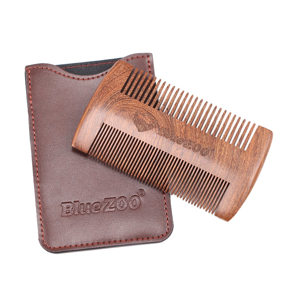Dolity Sandalwood Wooden Beard Mustache Comb Fine & Coarse Teeth With PU Leather Case - Brown, as described
