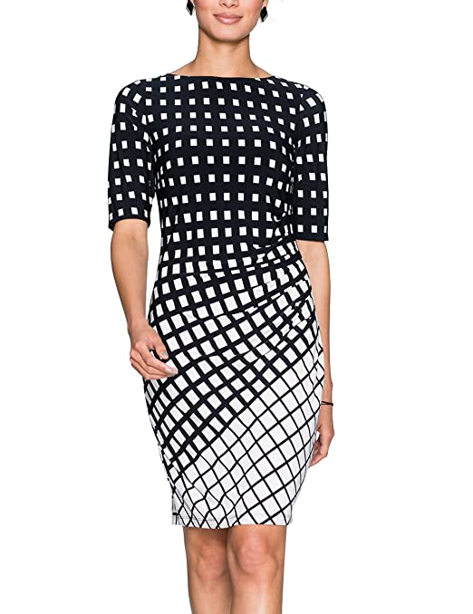 Eliacher Women Pleated Front Gradient Grid Print Summer Dresses Half Sleeve Bodycon Midi Dress Knee Length by Eliacher