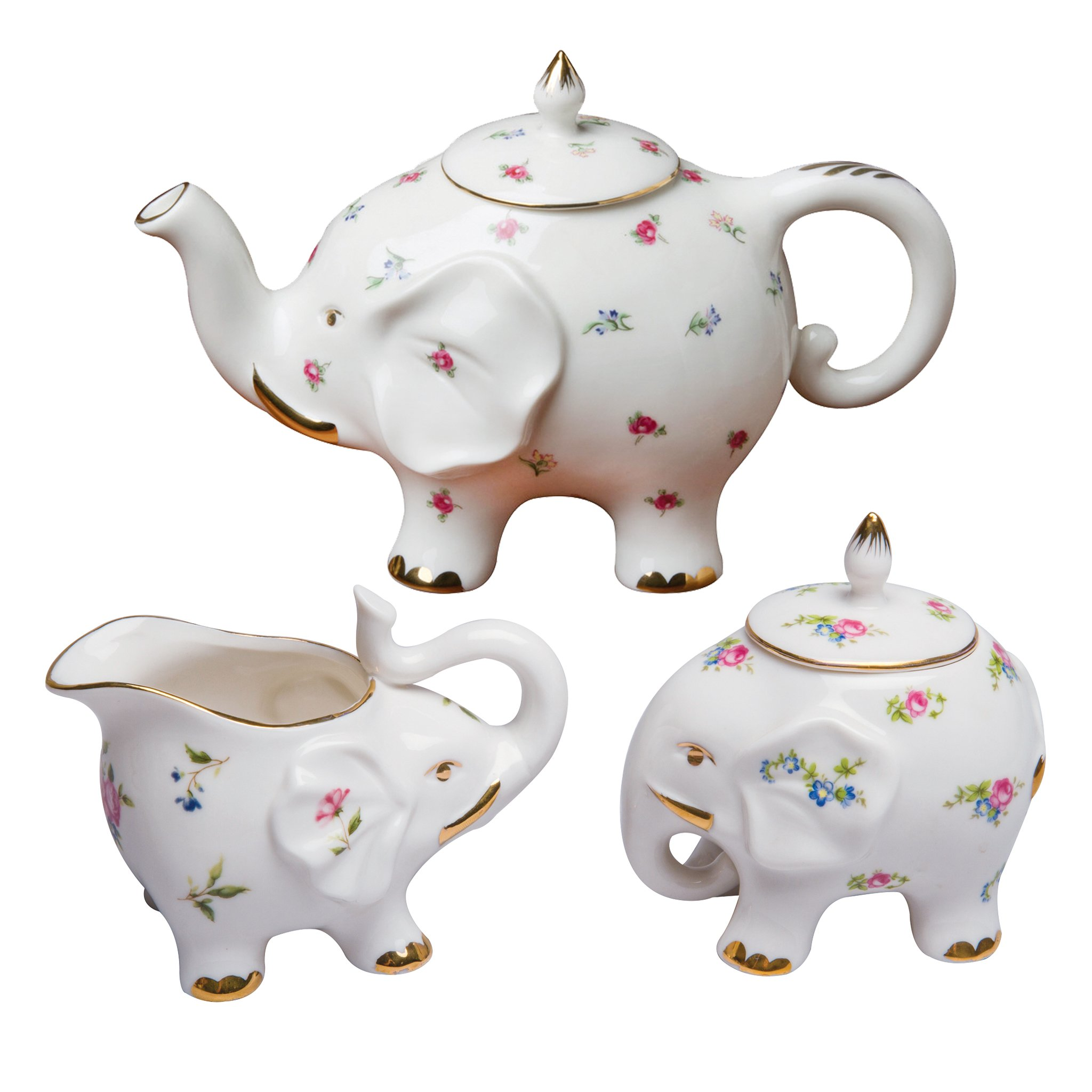 Grace Teaware Fine Porcelain Happy Elephant (3-Piece Tea Set, Petite Floral Spray) with Gold Trim
