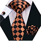 YOHOWA Check Tie Set Men Pocket Square Cufflinks Silk Plaid Business Tie Wedding Fashion