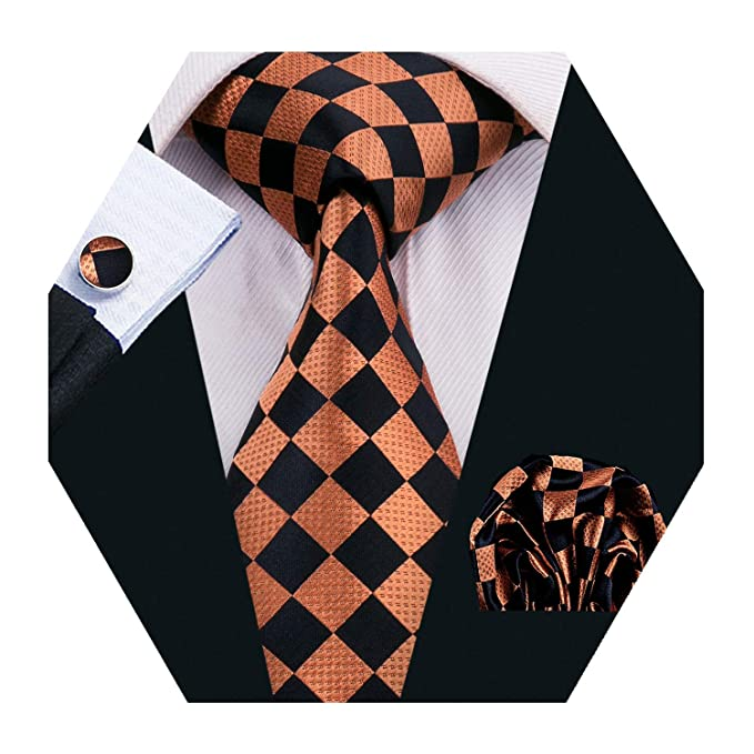 cf24afcba49b Amazon.com: Mens Black Plaid Check Silk Tie Set Woven Necktie with Hanky  and Cufflinks: Clothing