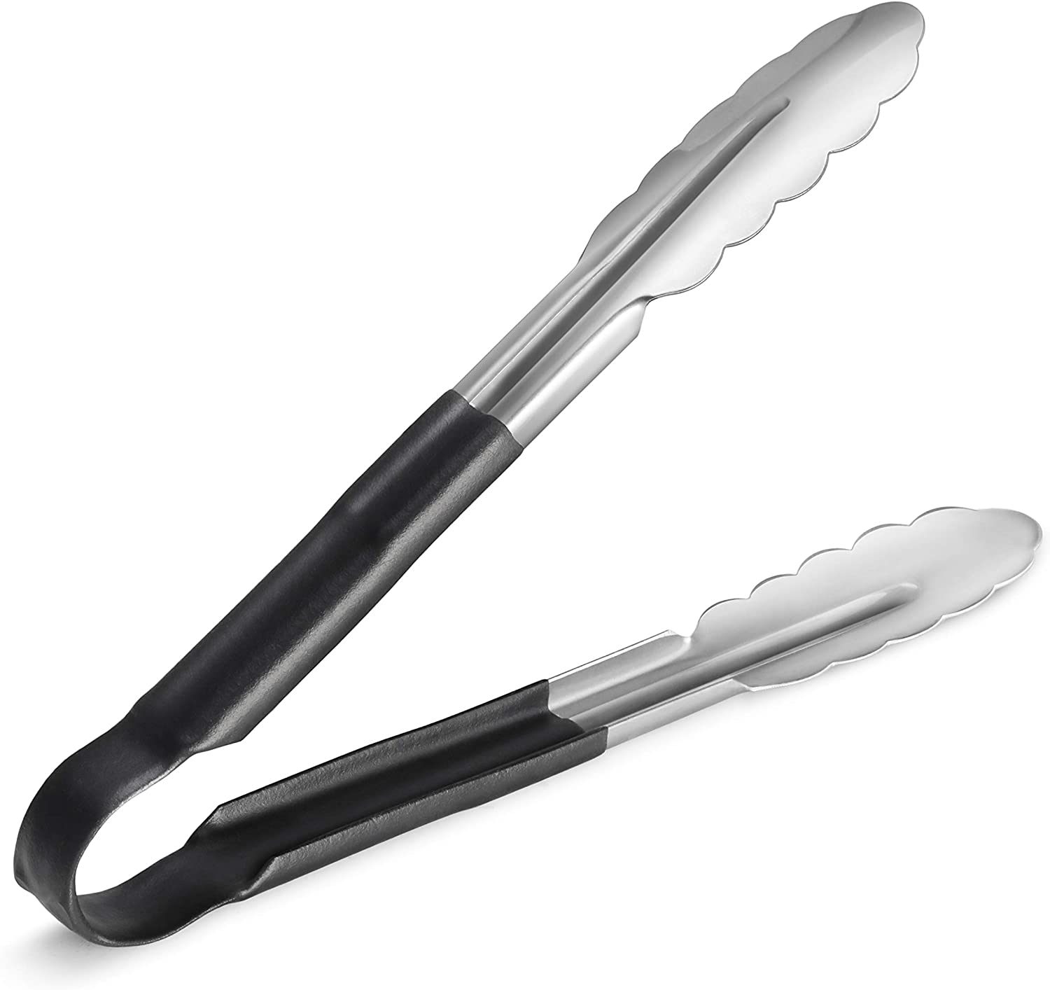 New Star Foodservice 35841 9-Inch Utility Spring Tongs, Stainless Steel, Vinyl Coated, Set of 12, Black