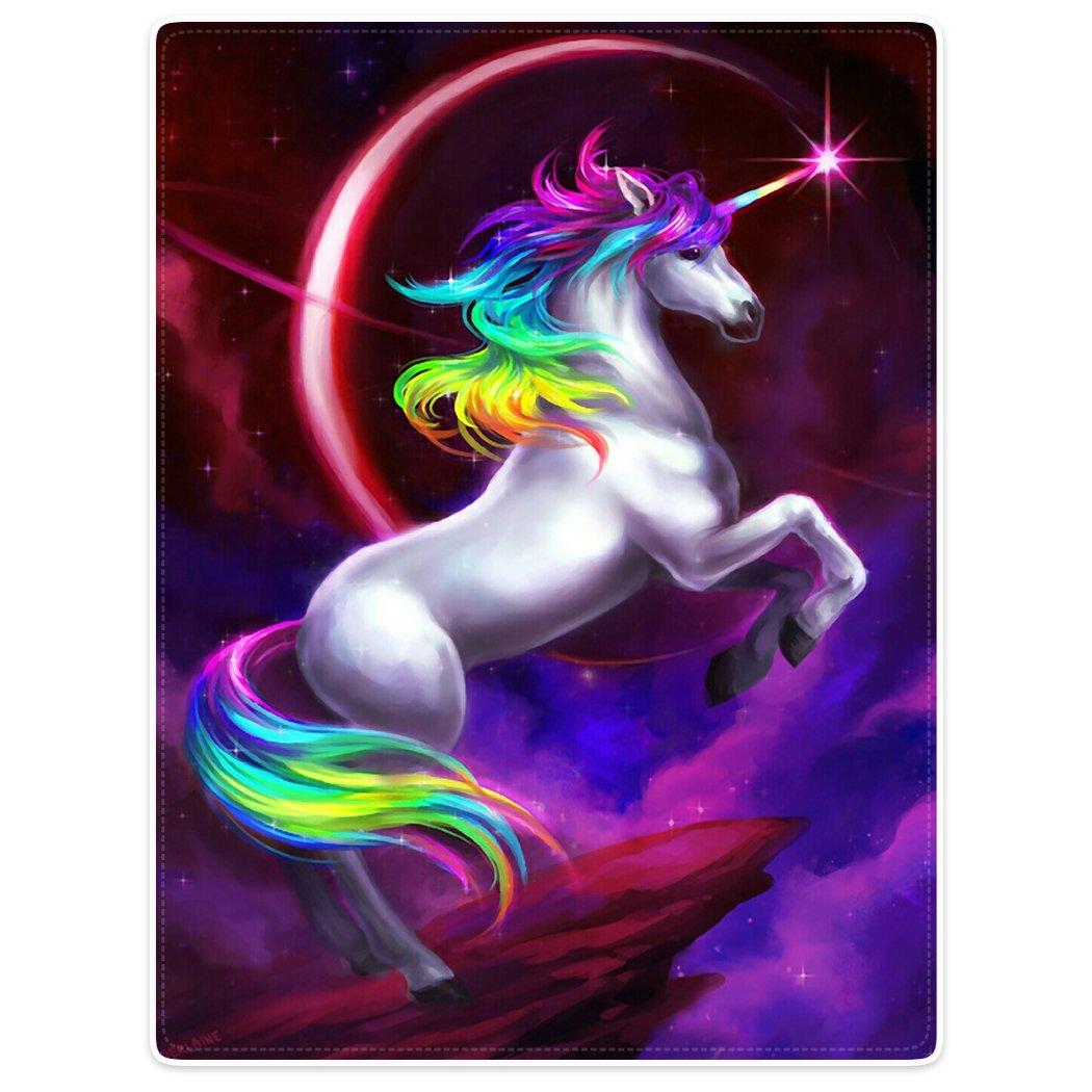 YISUMEI Warm Soft Cozy Plush Throw Fleece-Flannel Blanket 30x40 Beautiful Unicorn Rainbow Nebula Moon