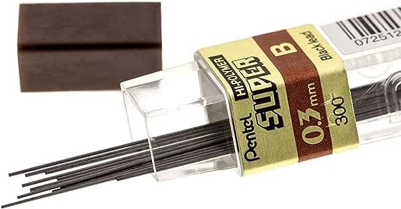 Pentel Super Hi-Polymer Lead, 0.3mm Extra Fine, B, 12 Pcs/Tube, Box of 12 Tubes (300-B)