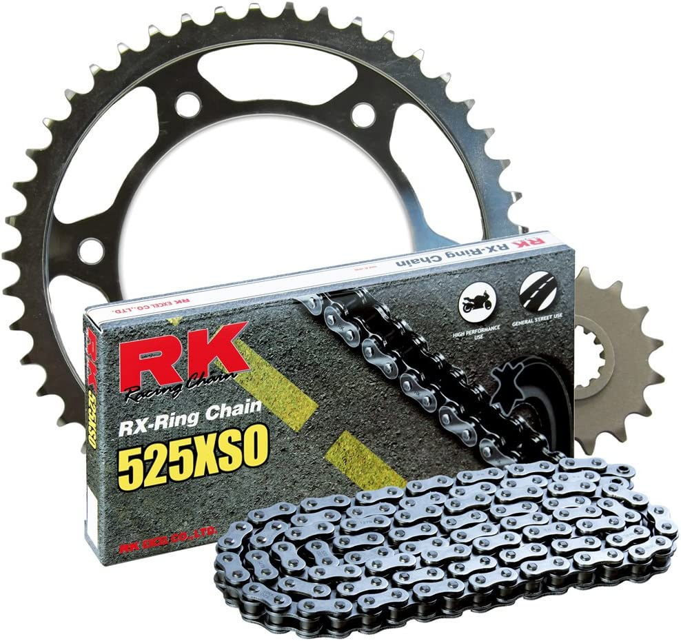 RK Racing Chain 1062-010W Steel Rear Sprocket and 525XSO Chain 20,000 Mile Warranty Kit