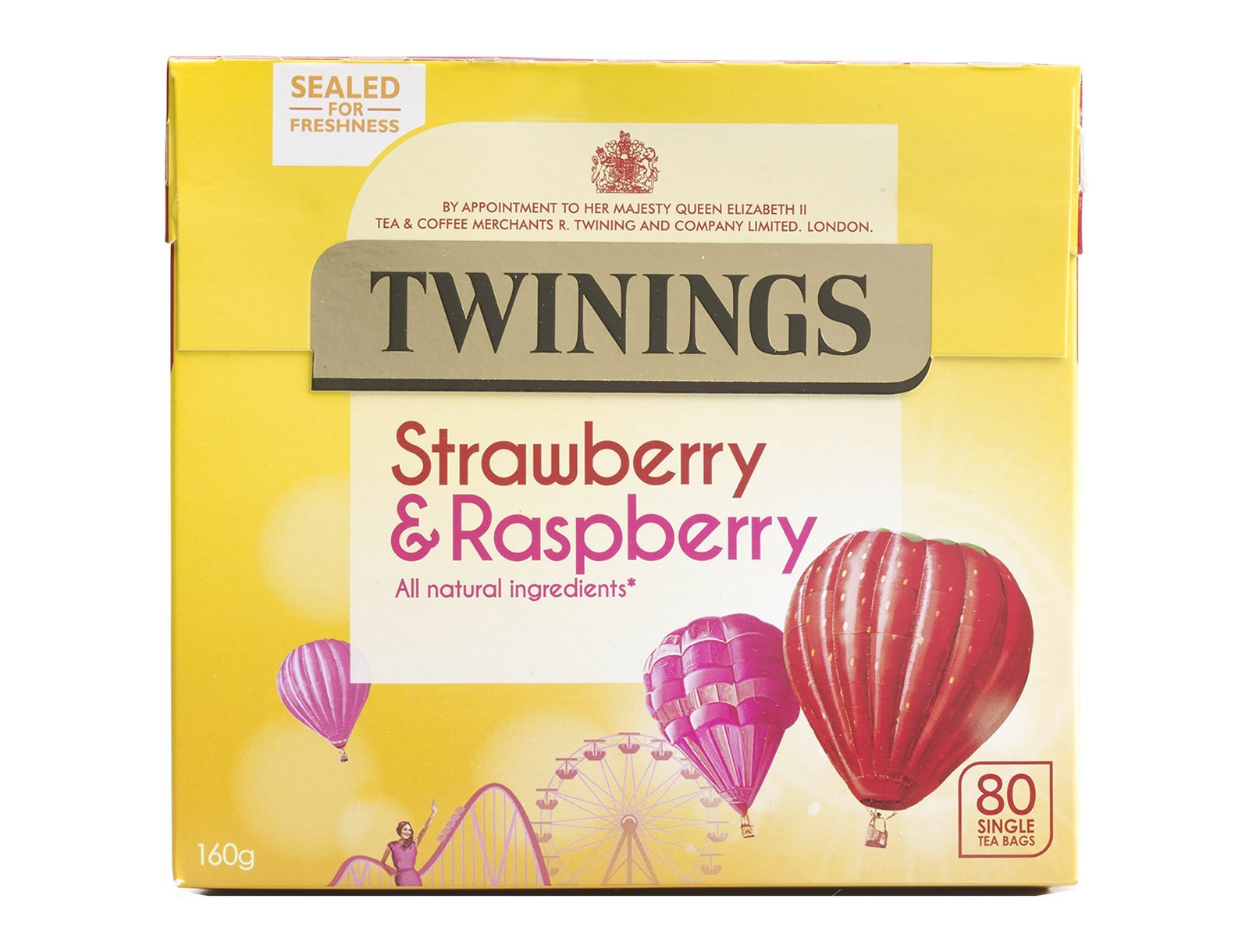Twinings Strawberry & Raspberry 80 Tea Bags Sugar Free, All Natural Ingredients